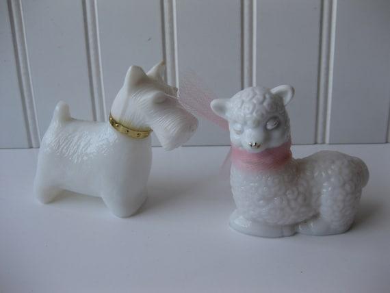 Sweet Little Dog and Lamb Avon Figurines Perfume Bottles