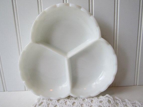 Vintage Fenton Milk Glass Hobnail 3-Part Relish Dish