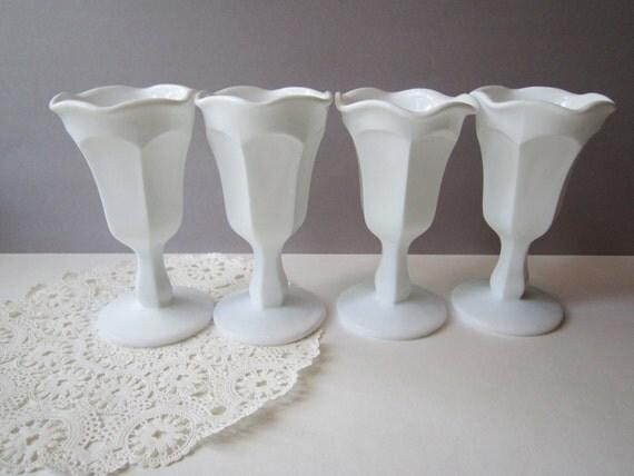 Vintage Milk Glass Goblets Set of Four