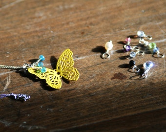 Free: Yellow Color Coated Brass Lacy Butterfly Stamping On Sterling Silver With 9 Dangles