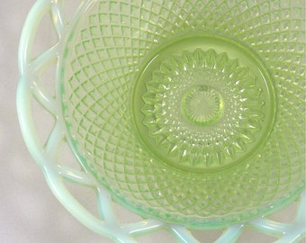 Green Opalescent Glass Dish in Basket Weave Design