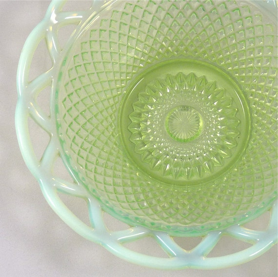 Green Opalescent Glass Dish in Basket Weave Design