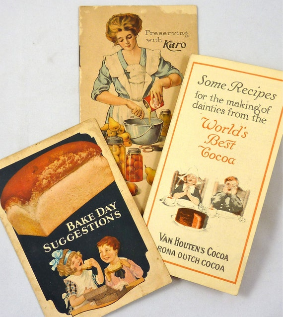 Collection of Three Vintage Advertisement Pamphlets, Yeast Foam, Van Houten's Cocoa, Karo Cristal White Syrup from the 1920's
