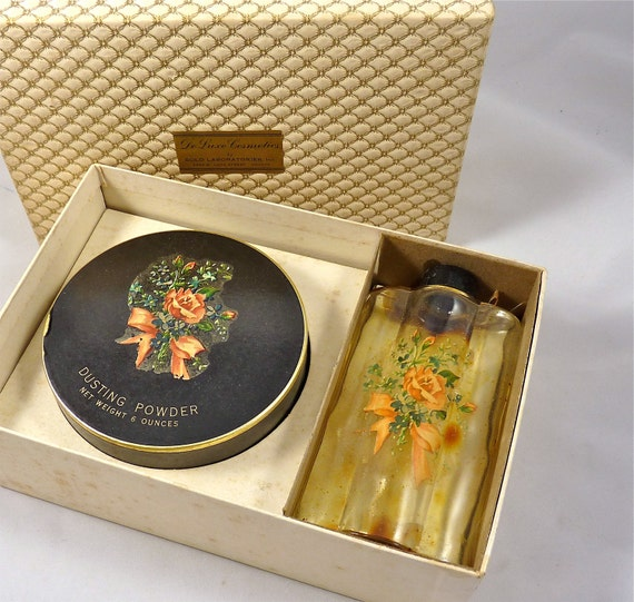 Le Luxe Cosmetics Vanity Set with Perfume Bottle and Dusting Powder from the 1960's
