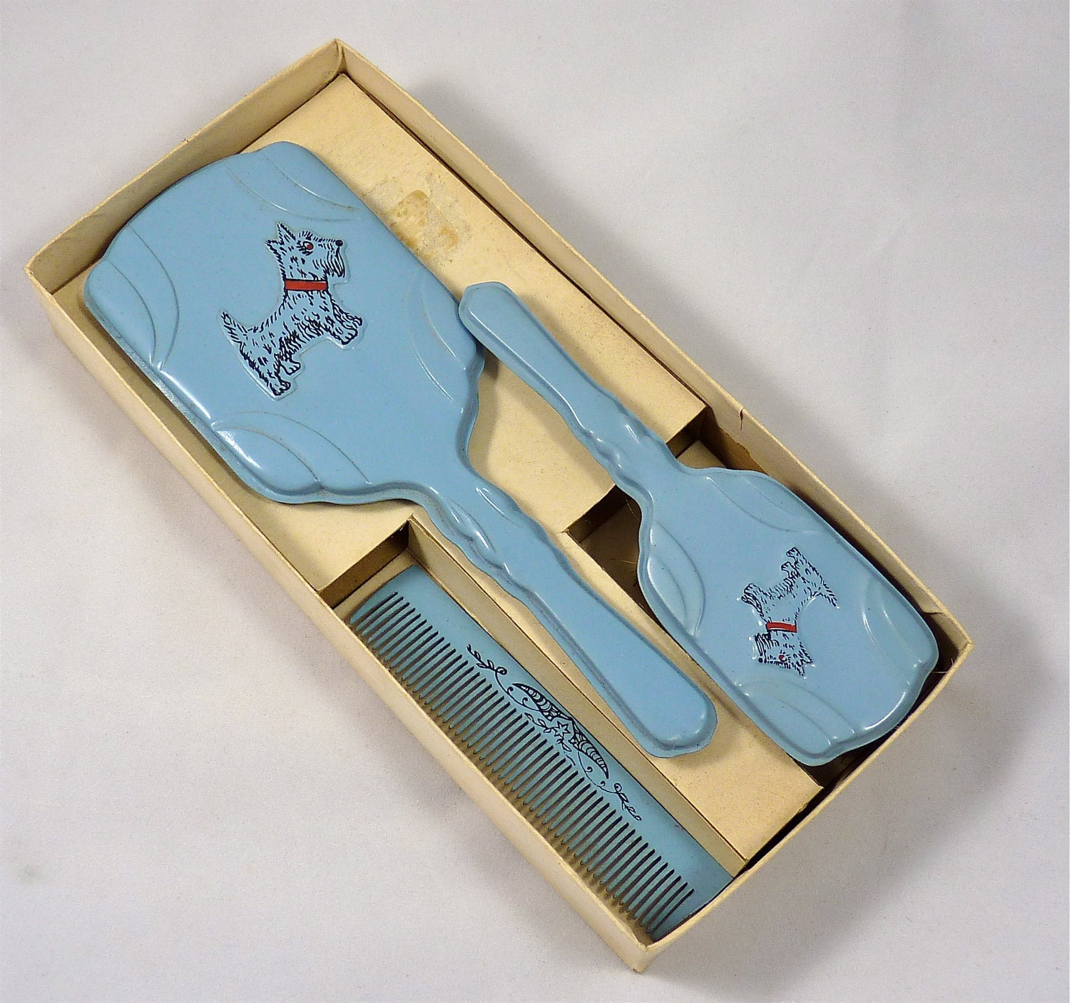 Child S Vanity Set With Mirror Brush And Comb In Blue