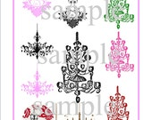 Shabby Chic Chandeliers Digital Collage