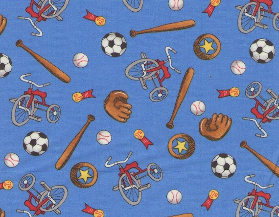 Blue Welcome To Bear Country Toys Print 100% Cotton Quilting Fabric