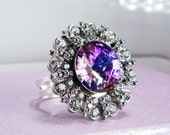 Velvet Crown Ring - Swarovski Crystal Sterling Silver - Made To Order