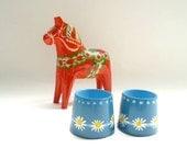 2 Danish Painted Egg Cups Helen & Mogens Lyholmer