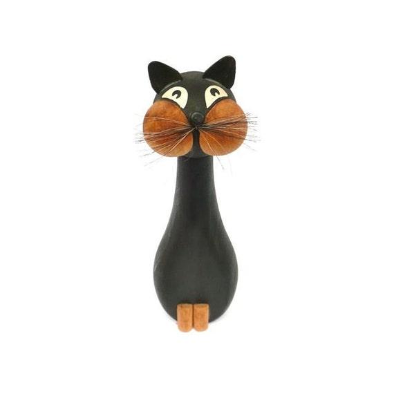 LONBORG\/Denmark\/Large Wooden Cat Figurine