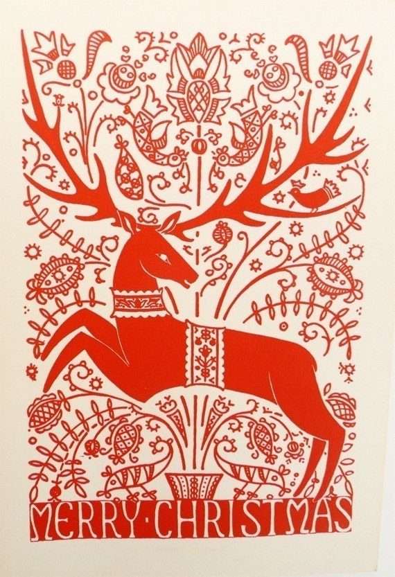 Five Vintage Christmas Cards with Stag Hungarian Folk Art