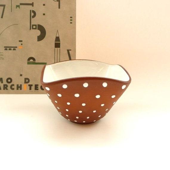 Danish Modern Ceramic Bowl Brown with White Dots Norway