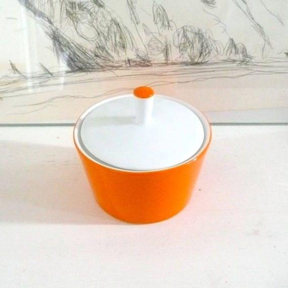 Bright Orange and White Sugar Bowl Japan