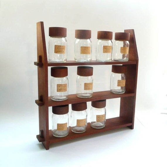 Vintage Wood Spice Rack with Glass Jars