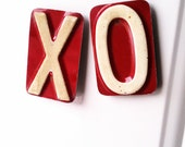 Hugs and Kisses Magnet Set - Recycled License Plates
