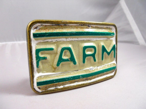 Farm Belt Buckle -  Recycled License Plates