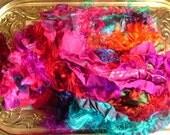 4oz... Fair Trade Sari silk Ribbon, Recycled Sari Silk Waste. Loom Waste, Silk, Spinning Felting Embelishing, Paper Makeing Supplies