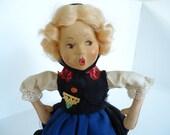 Vintage Baitz Paper Mache German Austrian Felt Folk Doll