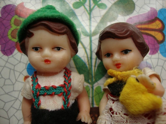Vintage Tiny Rubber German Dolls Boy and Girl in Traditional Outfits