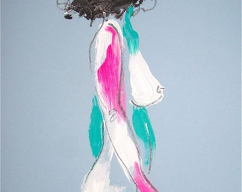 Nude painting- One Minute Pose LXXVII.2, nude art, original, gesture sketch by Gretchen Kelly
