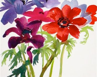 Watercolor flower painting-Anenome bouquet - Original by Gretchen Kelly