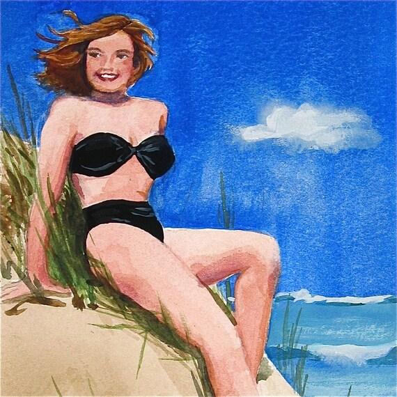 Bathing Beauty Harriet - watercolor portrait by Gretchen Kelly