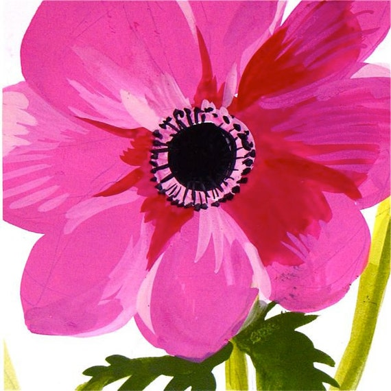 Pink Anenome - Original painting by Gretchen Kelly