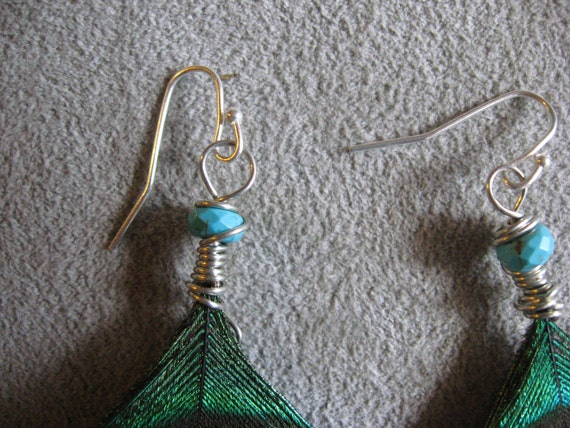 Peacock Feather Earrings with Turquoise