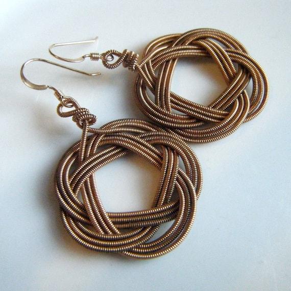 recycled Guitar String Weave Earrings
