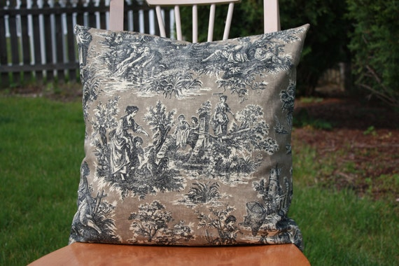 Toile French Country Pillow Cover