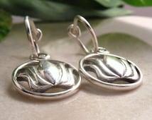 Hoop Earrings Lotus Dangles Silver Lotus Hoop Earrings/Lotus Flower Earrings/Yoga Earrings/Yoga Hoops/Zen Earrings/Silver Hoop Earrings