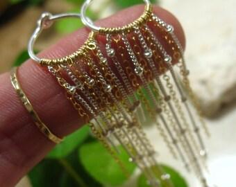Hoop Earrings Silver 14k Gold Chain - Earrings, Dangle Earrings, Long Dangle Earrings, Hoop Dangles, Chandelier Earrings, Small Hoop Earring