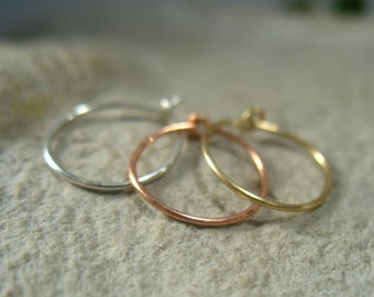 Thin Nose Ring Set Gold Silver and Pink Gold - Thin Nose Rings, Nose Ring Set, Super Thin Nose Rings, Discreet Nose Ring, Delicate Nose Ring
