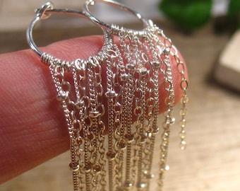 Hoop Earrings Silver Chain Dangle Chain Earrings - Long Earrings, Chandelier Earrings, Hoop Earrings, Gypsy Earrings, Boho Earrings,