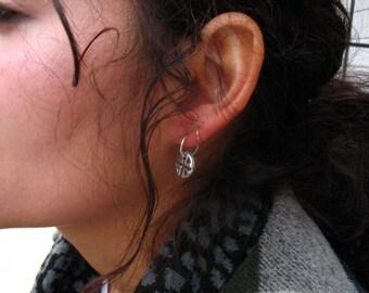 Hoop Earring Tribal Dangles - Silver Tribal Hoops, Tribal Earrings, Dangle Earrings, Silver Hoop Earrings, Everyday Hoops, Sleeper Hoops