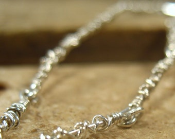 Tangled Chain Bracelet Sterling Silver with Sterling Silver Wrap - Silver Bracelet, Link Bracelet, Chain Bracelet, Layering Bracelet