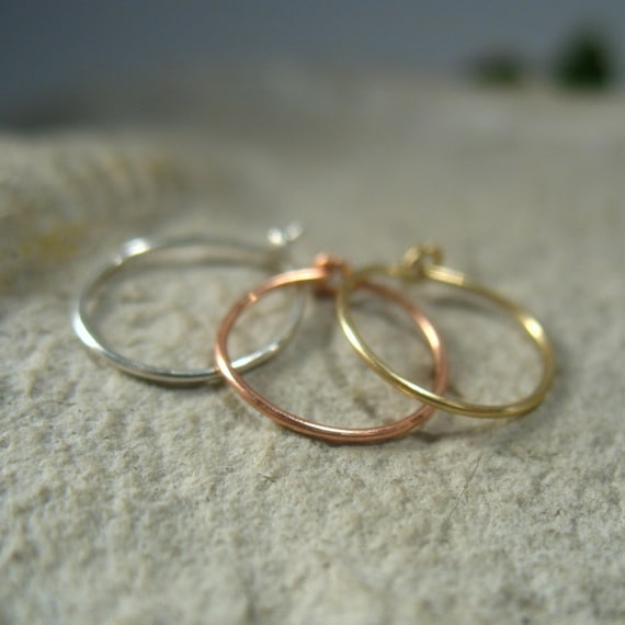 thin nose ring set gold silver and pink gold thin nose