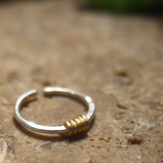 nose rings sterling silver with 14k gold filled by mysticmoons