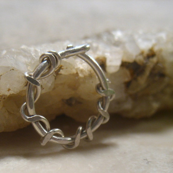 Hoop Earring Silver Squiggles SINGLE - Ear Jewelry, Ear Jewellery, Tragus Jewelry, Rook Jewelry, Daith Jewelry, Cartilage Jewelry, Conch