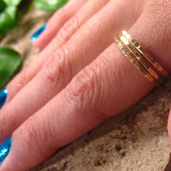 Gold Hammered Ring Set of 3 Stacking/Finger/Toe/Knuckle/Thumb