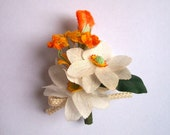 SALE // Corsage Brooch...country garden flowers, coral and lemon