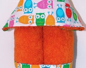 Boys Girls Hooded Towel-- HOOT Owls on your choice of towel color