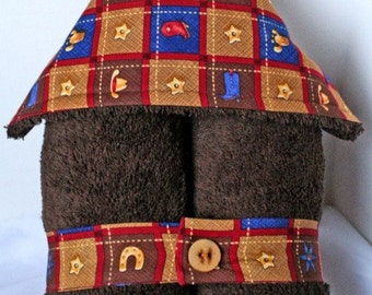 Plush Hooded Towel -- Wild West Cowboy on Chocolate