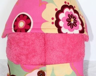 Hooded Kid's Towel- Kleo Floral on choice of Bubblegum or Pastel Pink