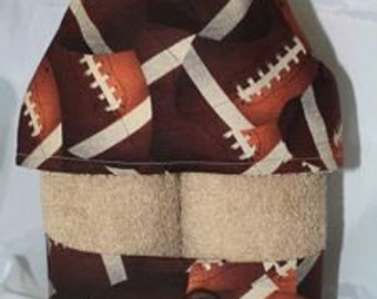 FOOTBALL Boys Hooded Towel-- Footballs on YOUR choice of chocolate, taupe or white