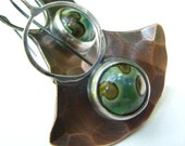 Metalsmithed Earrings - Tribal Copper Earrings Sterling Silver, Vintage Czech Glass Cabochon