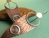 Neo Tribal Earrings Mixed Metal Copper And Sterling Silver Long Rustic Shield Earrings - Artisan Jewelry