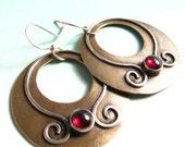 Large Garnet Earrings - Gypsy Hoop Earrings - Mixed Metal Bronze And Sterling Silver Gemstone Earrings - Ethnic, Tribal Jewelry