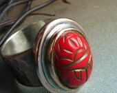 Red Scarab Ring - Egyptian Revival Cabochon Copper Statement Ring With Fine Silver 7.5 - Metalsmithed Artisan Jewelry - Mixed Metal