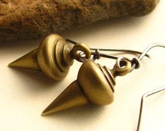 Small Modern Tribal Earrings, Sterling Silver And Brass Earrings, Mixed Metal Earrings, Urban Metal Jewelry - Urban Industrial Earrings